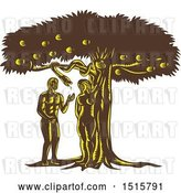 Vector Clip Art of Retro Scene of the Fall of Guy, Adam with Eve in Garden of Eden by Patrimonio
