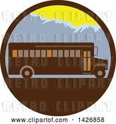 Vector Clip Art of Retro School Bus Against Mountains in a Circle by Patrimonio
