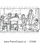 Vector Clip Art of Retro School Children Studying by Prawny Vintage