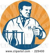 Vector Clip Art of Retro Scientist Holding a Test Tube Logo by Patrimonio