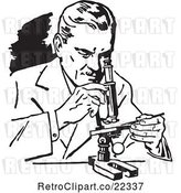 Vector Clip Art of Retro Scientist Using a Microscope by BestVector