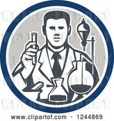 Vector Clip Art of Retro Scientist Working with Lab Equipment in a Circle by Patrimonio