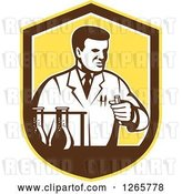 Vector Clip Art of Retro Scientist Working with Lab Equipment in a Yellow Brown and White Shield by Patrimonio