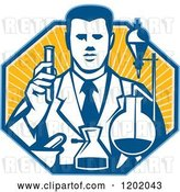 Vector Clip Art of Retro Scientist Working with Lab Equipment over a Ray Octagon by Patrimonio