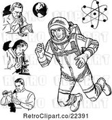 Vector Clip Art of Retro Scientists Astronaut Earth and Atom by BestVector