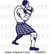 Vector Clip Art of Retro Scotsman Athlete Wearing a Kilt, Playing a Highland Weight Throwing Game by Patrimonio