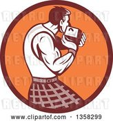 Vector Clip Art of Retro Scotsman Athlete Wearing a Kilt, Playing a Highland Weight Throwing Game in a Brown and Orange Circle by Patrimonio