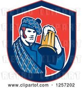 Vector Clip Art of Retro Scotsman in a Tartan, Holding a Beer in a Blue White and Red Shield by Patrimonio