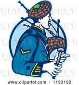 Vector Clip Art of Retro Scotsman Playing Bagpipes over a Blue Circle by Patrimonio