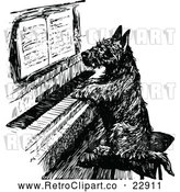 Vector Clip Art of Retro Scottish Terrier Playing a Piano by Prawny Vintage