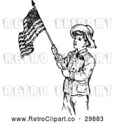 Vector Clip Art of Retro Scout Boy with an American Flag by Prawny Vintage