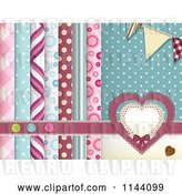 Vector Clip Art of Retro Scrapbooking Background of Layered Papers Hearts Banners and Buttons by Elaineitalia