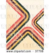Vector Clip Art of Retro Scratched Background of Brown, Yellow, Green, and Pink Corners on Beige by KJ Pargeter