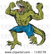 Vector Clip Art of Retro Screaming Crocodile Guy Villain by Patrimonio