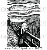 Vector Clip Art of Retro Screaming Man the Scream by Prawny Vintage