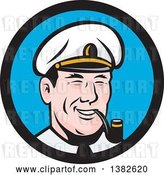 Vector Clip Art of Retro Sea Captain Smoking a Pipe in a Blue and Black Circle by Patrimonio