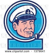 Vector Clip Art of Retro Sea Captain Smoking a Pipe in a Blue and White Label by Patrimonio