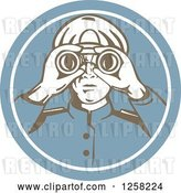 Vector Clip Art of Retro Sea Captain Using Binoculars in a Blue Circle by Patrimonio