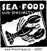 Vector Clip Art of Retro Sea Food Our Specialty Lobster Sign by BestVector