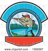 Vector Clip Art of Retro Sea Trout Fish Guy Hunter Holding a Shotgun over a Lake Scene by Patrimonio