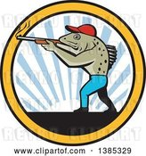 Vector Clip Art of Retro Sea Trout Fish Guy Hunter Shooting a Shotgun over a Sunset in a Circle by Patrimonio