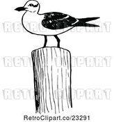 Vector Clip Art of Retro Seagull on a Post by Prawny Vintage