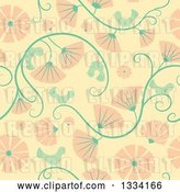 Vector Clip Art of Retro Seamless Background Pattern of Birds, Vines and Pink Flowers by Cherie Reve