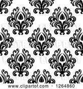 Vector Clip Art of Retro Seamless Background Pattern of Black Floral Damask on White by Vector Tradition SM
