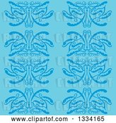 Vector Clip Art of Retro Seamless Background Pattern of Blue Flowers by Cherie Reve