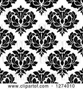 Vector Clip Art of Retro Seamless Background Pattern of Damask Floral by Vector Tradition SM