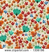Vector Clip Art of Retro Seamless Background Pattern of Flowers on Tan by Vector Tradition SM
