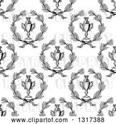 Vector Clip Art of Retro Seamless Background Pattern of Grayscale Laurel Wreaths and Trophies by Vector Tradition SM