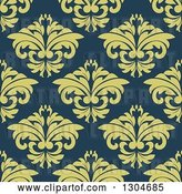 Vector Clip Art of Retro Seamless Background Pattern of Green Floral over Blue by Vector Tradition SM