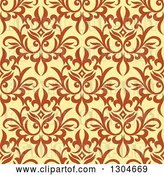 Vector Clip Art of Retro Seamless Background Pattern of Orange Floral over Yellow by Vector Tradition SM