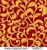 Vector Clip Art of Retro Seamless Background Pattern of Orange Floral Scrolls on Red 2 by Vector Tradition SM