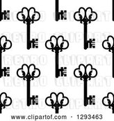 Vector Clip Art of Retro Seamless Background Pattern of Ornate Black Skeleton Keys on White 2 by Vector Tradition SM