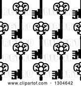 Vector Clip Art of Retro Seamless Background Pattern of Ornate Black Skeleton Keys on White 3 by Vector Tradition SM
