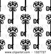 Vector Clip Art of Retro Seamless Background Pattern of Ornate Black Skeleton Keys on White 5 by Vector Tradition SM