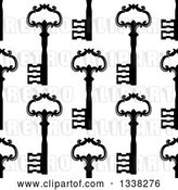 Vector Clip Art of Retro Seamless Background Pattern of Ornate Black Skeleton Keys on White 6 by Vector Tradition SM