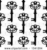 Vector Clip Art of Retro Seamless Background Pattern of Ornate Black Skeleton Keys on White 7 by Vector Tradition SM