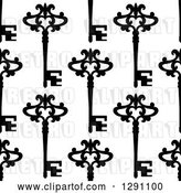 Vector Clip Art of Retro Seamless Background Pattern of Ornate Black Skeleton Keys on White by Vector Tradition SM