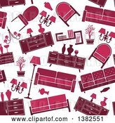 Vector Clip Art of Retro Seamless Background Pattern of Red and Pink Furniture by Vector Tradition SM