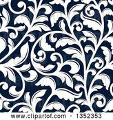 Vector Clip Art of Retro Seamless Background Pattern of White Floral Scrolls on Dark Blue by Vector Tradition SM