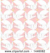 Vector Clip Art of Retro Seamless Background Pattern of White Peace Doves and Stars on Pink by Elena