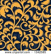 Vector Clip Art of Retro Seamless Background Pattern of Yellow Floral Scrolls on Navy Blue 2 by Vector Tradition SM