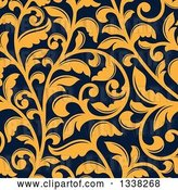 Vector Clip Art of Retro Seamless Background Pattern of Yellow Floral Scrolls on Navy Blue by Vector Tradition SM
