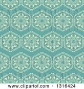 Vector Clip Art of Retro Seamless Background Pattern of Yellow Flowers on Turquoise by KJ Pargeter