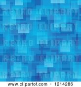 Vector Clip Art of Retro Seamless Blue Background of Squares and Rectangles by Visekart