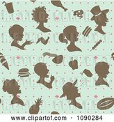 Vector Clip Art of Retro Seamless Blue Brown and Pink People and Food Background by Cherie Reve