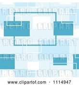 Vector Clip Art of Retro Seamless Blue Rectangle Background Pattern by Dero